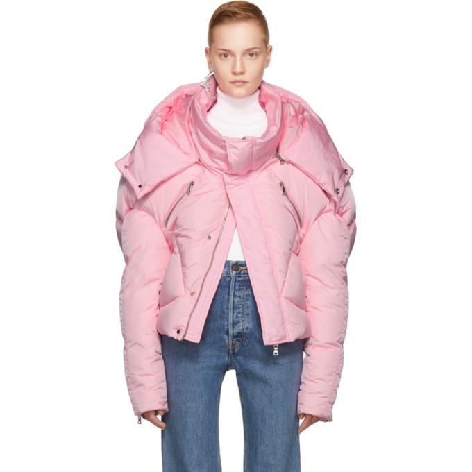 pink short quilted puffer jacket