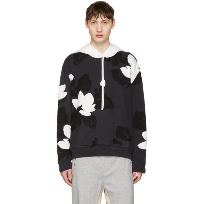 black zip sleeve floral hoodie