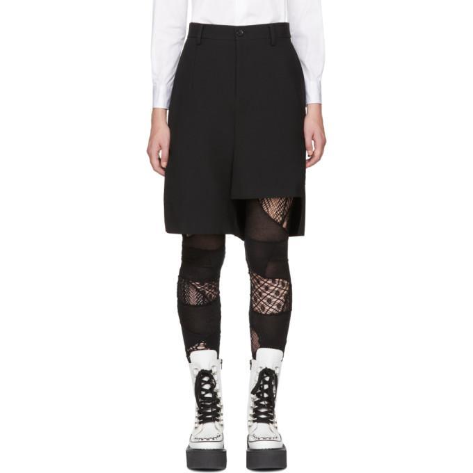 black asymmetric wool shorts