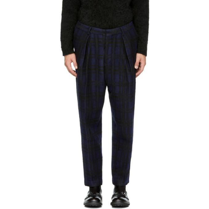 blue check tuck wide trousers