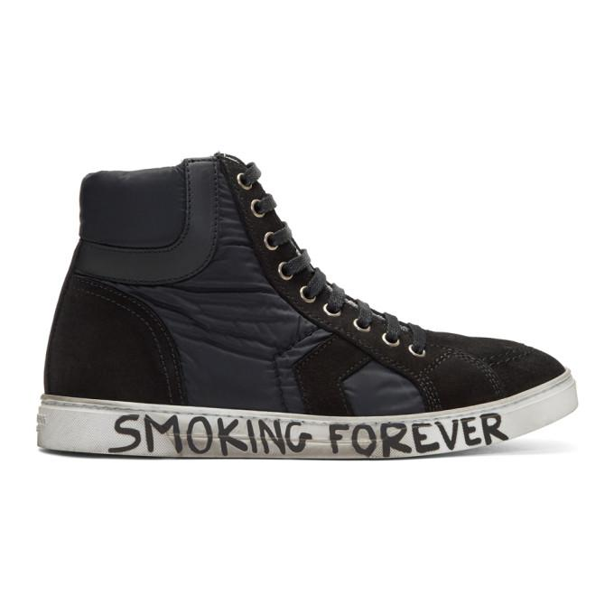 black suede & nylon antib high-top sneakers