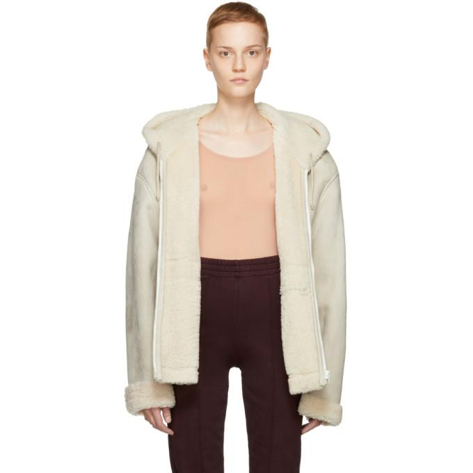 ivory short shearling jacket