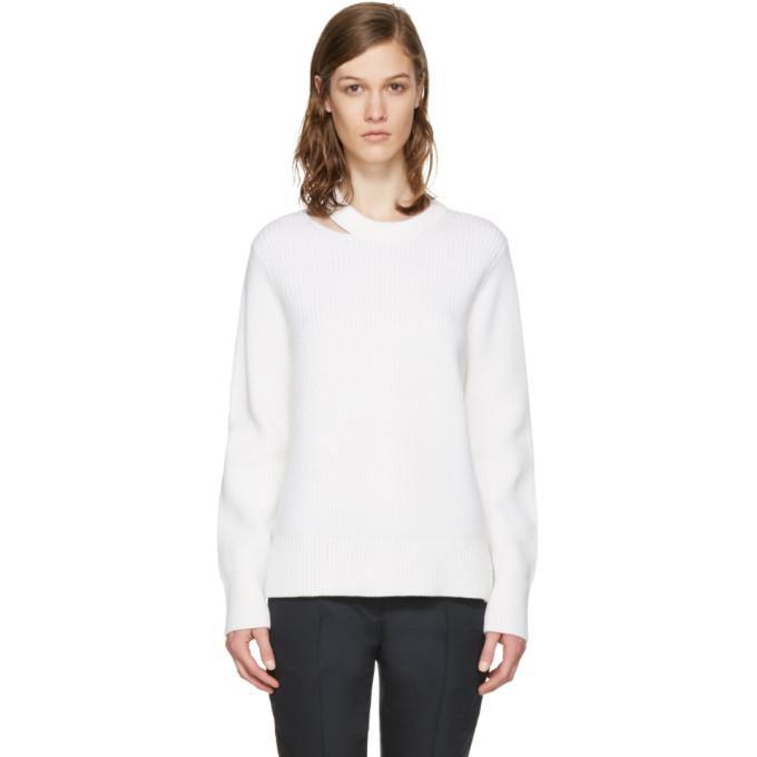 white ginnie cut-out sweater