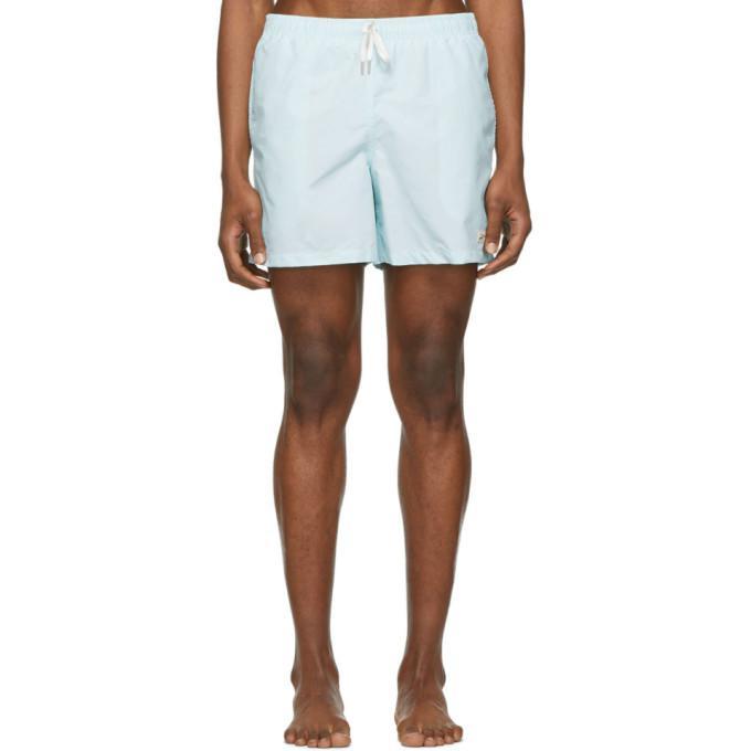 blue solid swim shorts