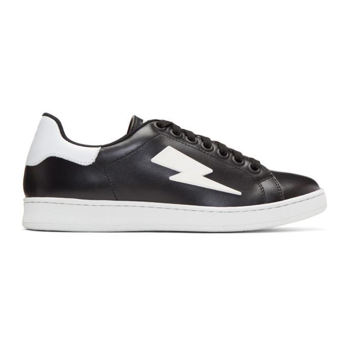 black thunderbolt tennis sneakers