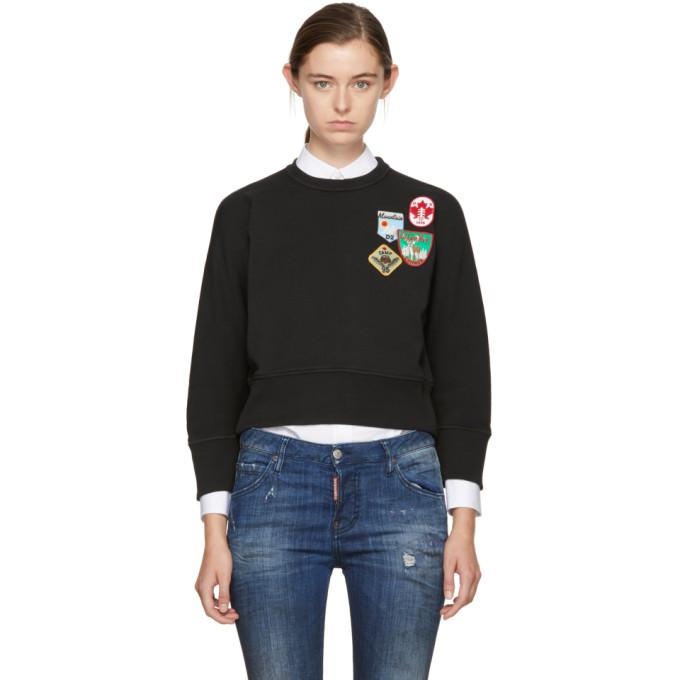 black cropped patchwork sweatshirt
