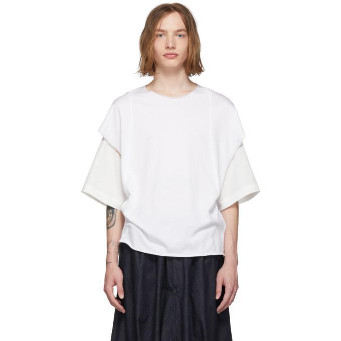 white cut-sew t-shirt