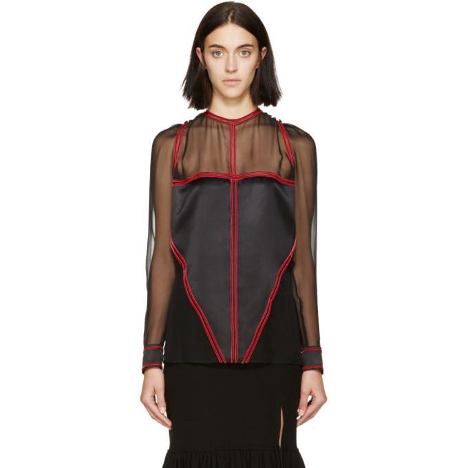 black & red chiffon blouse