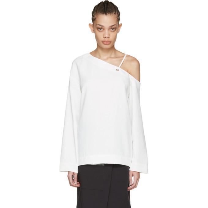 white laced shoulder blouse