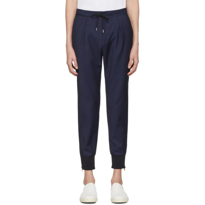 navy check zip trousers