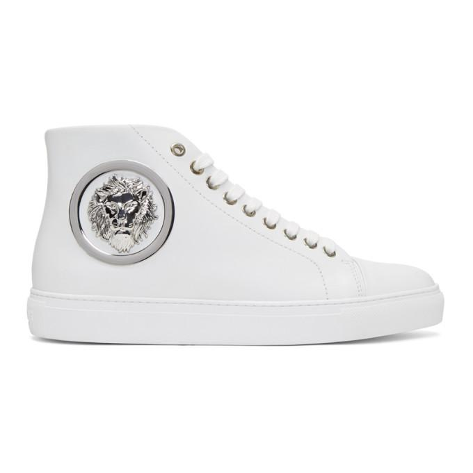 white lion head high-top sneakers