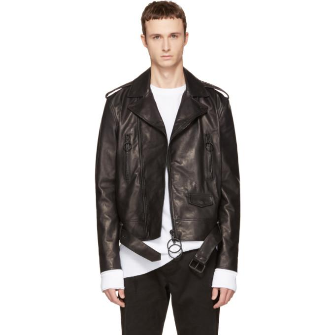 black leather brushed biker jacket