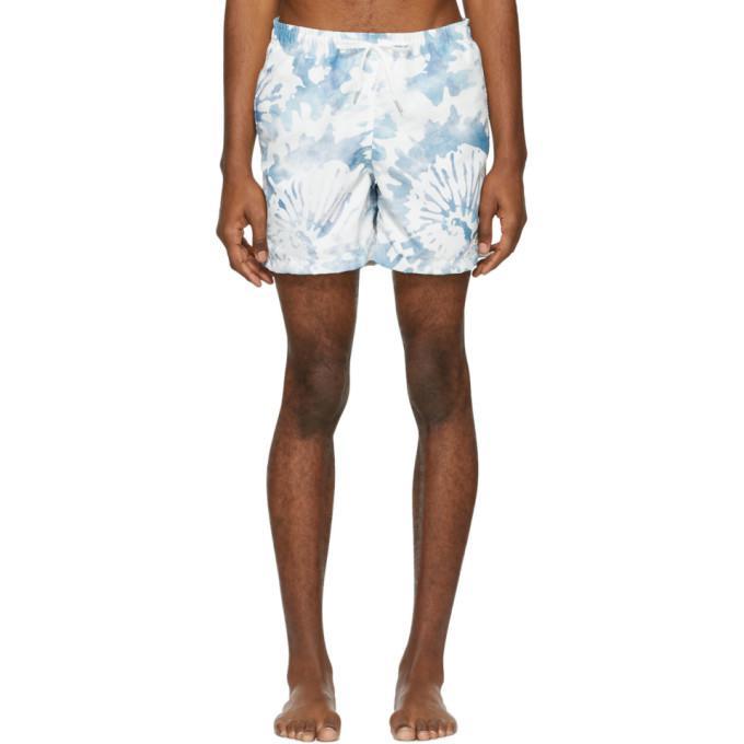 white & green tie-dye swim shorts