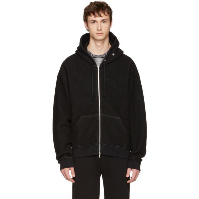 black knit zip hoodie