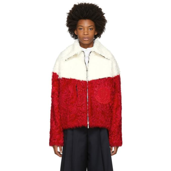 red & white shearling jacket