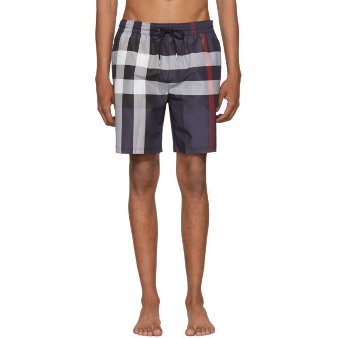 navy check guildes swim shorts