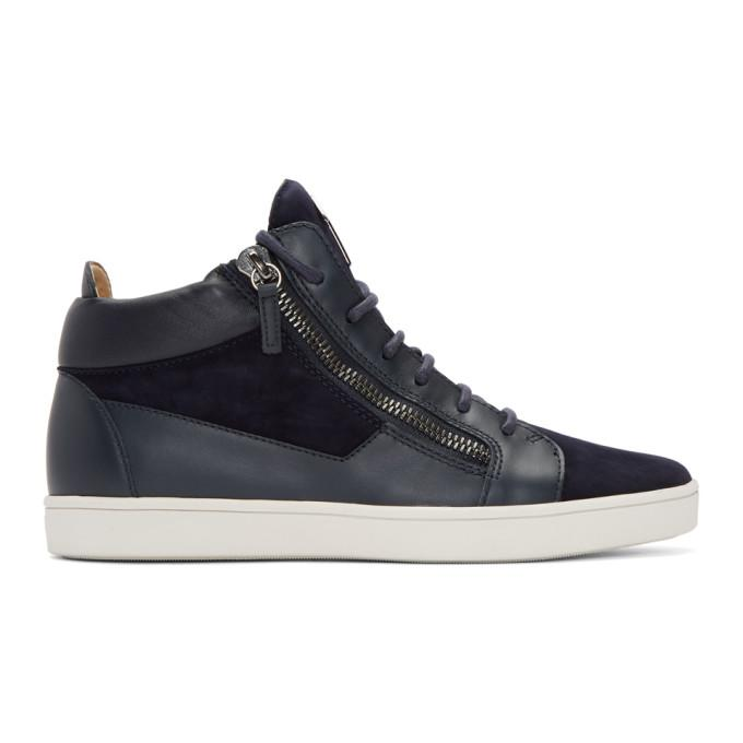 navy suede brek high-top sneakers