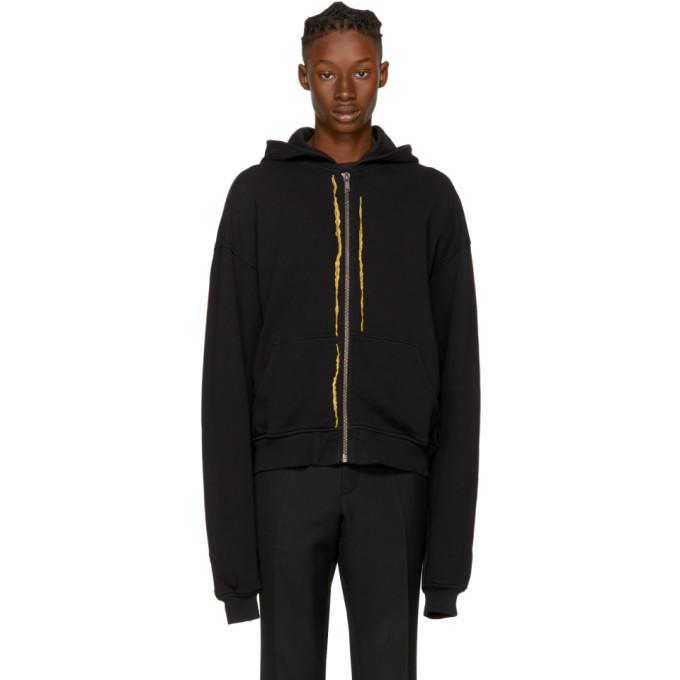 black embroidered zip hoodie