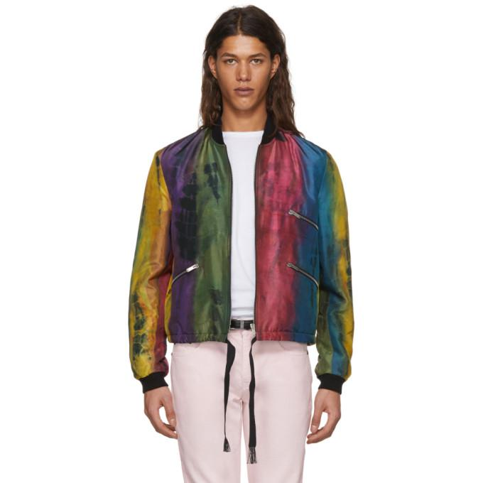 multicolor silk striped bomber jacket