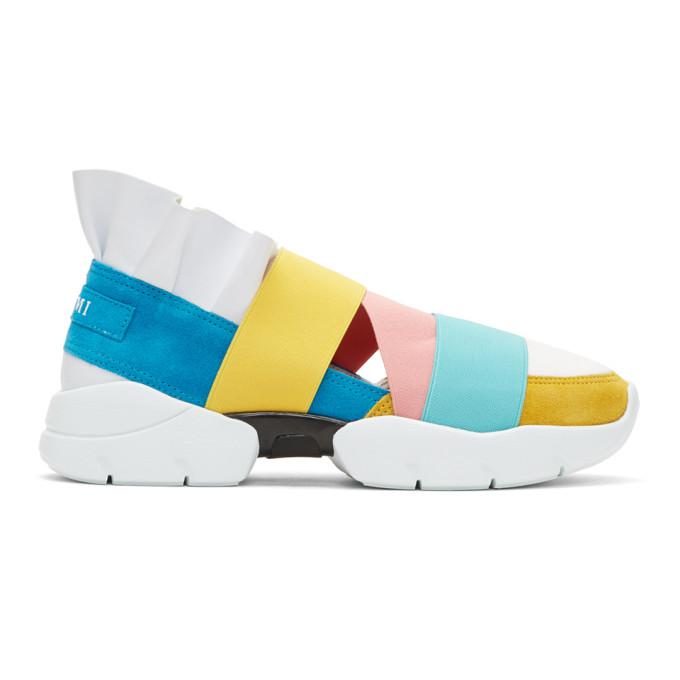 blue & yellow colorblock 'miami' ruffle slip-on sneakers