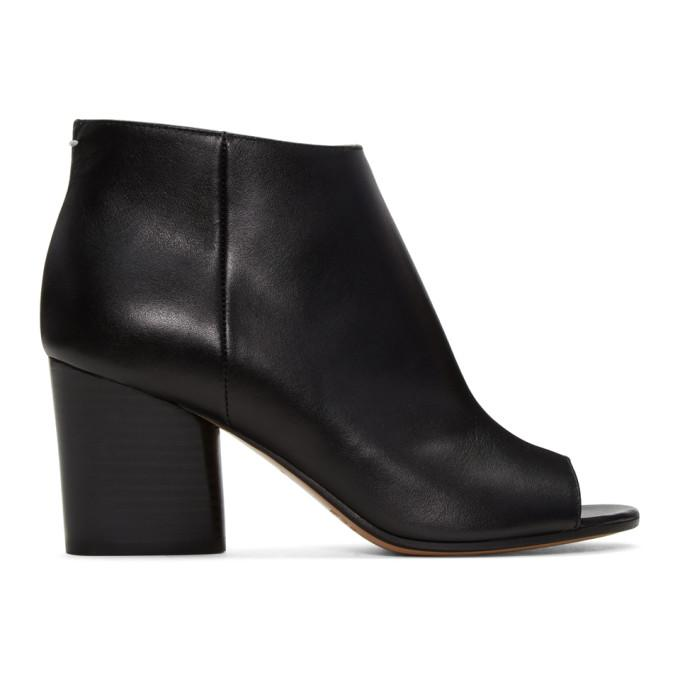 black open-toe ankle boots