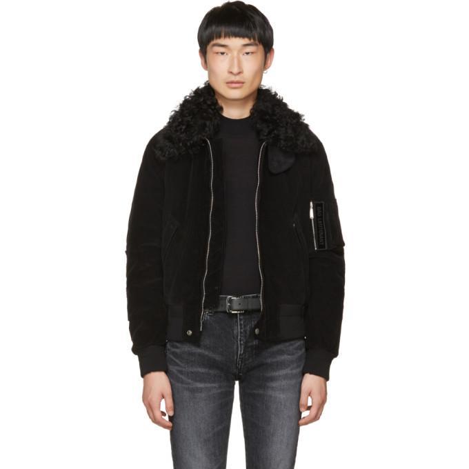 black corduroy 'bad lieutenant' bomber jacket