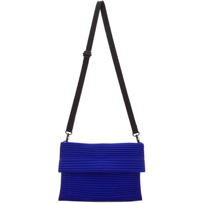 blue small pleated flat bag