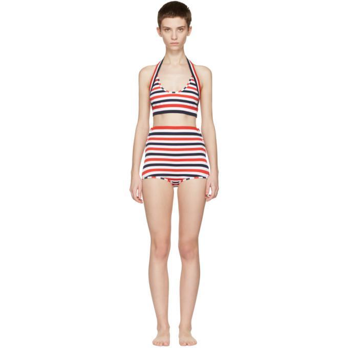 tricolor striped halter bikini