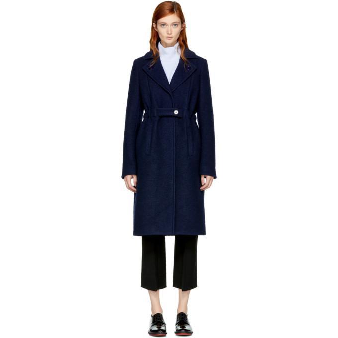blue long wool trench coat
