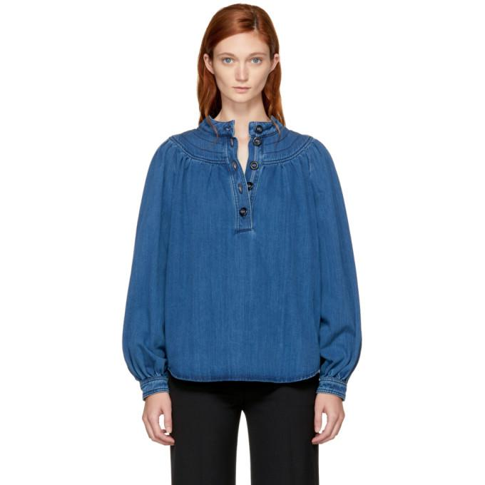 indigo denim blouse