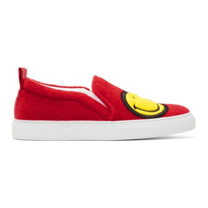 red felt smile sneakers