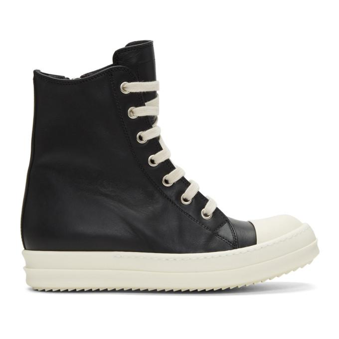 black leather high-top sneakers