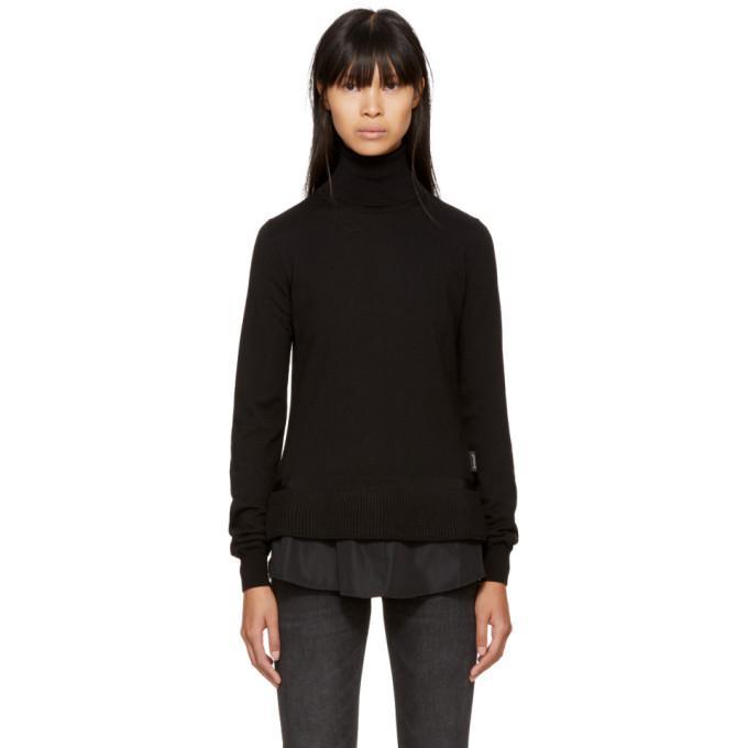 black twist knit turtleneck
