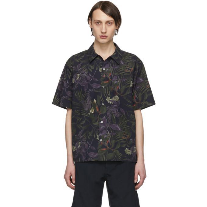 navy carsten print shirt