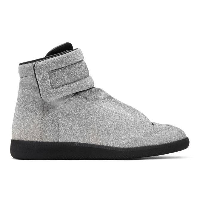 silver future high-top sneakers