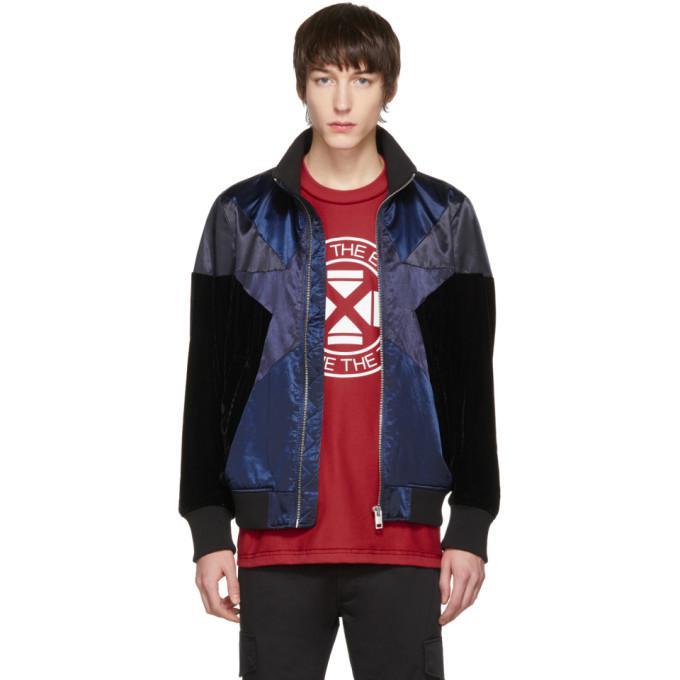 blue & black j-club bomber jacket