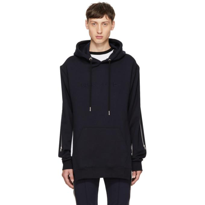 navy hangul logo hoodie