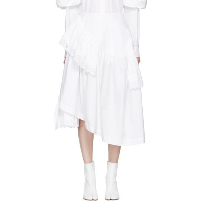white poplin & broderie anglaise tiered skirt