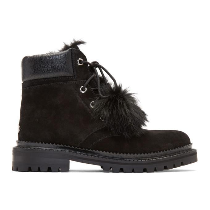black suede pom pom elba boots