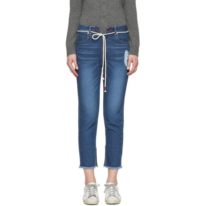 indigo cut-off string jeans