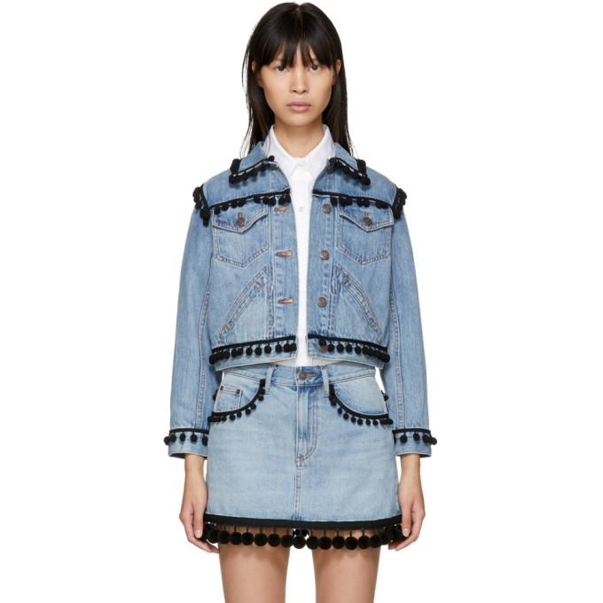 indigo denim shrunken pom pom jacket