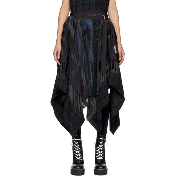 black & navy pleated plaid belted skirt