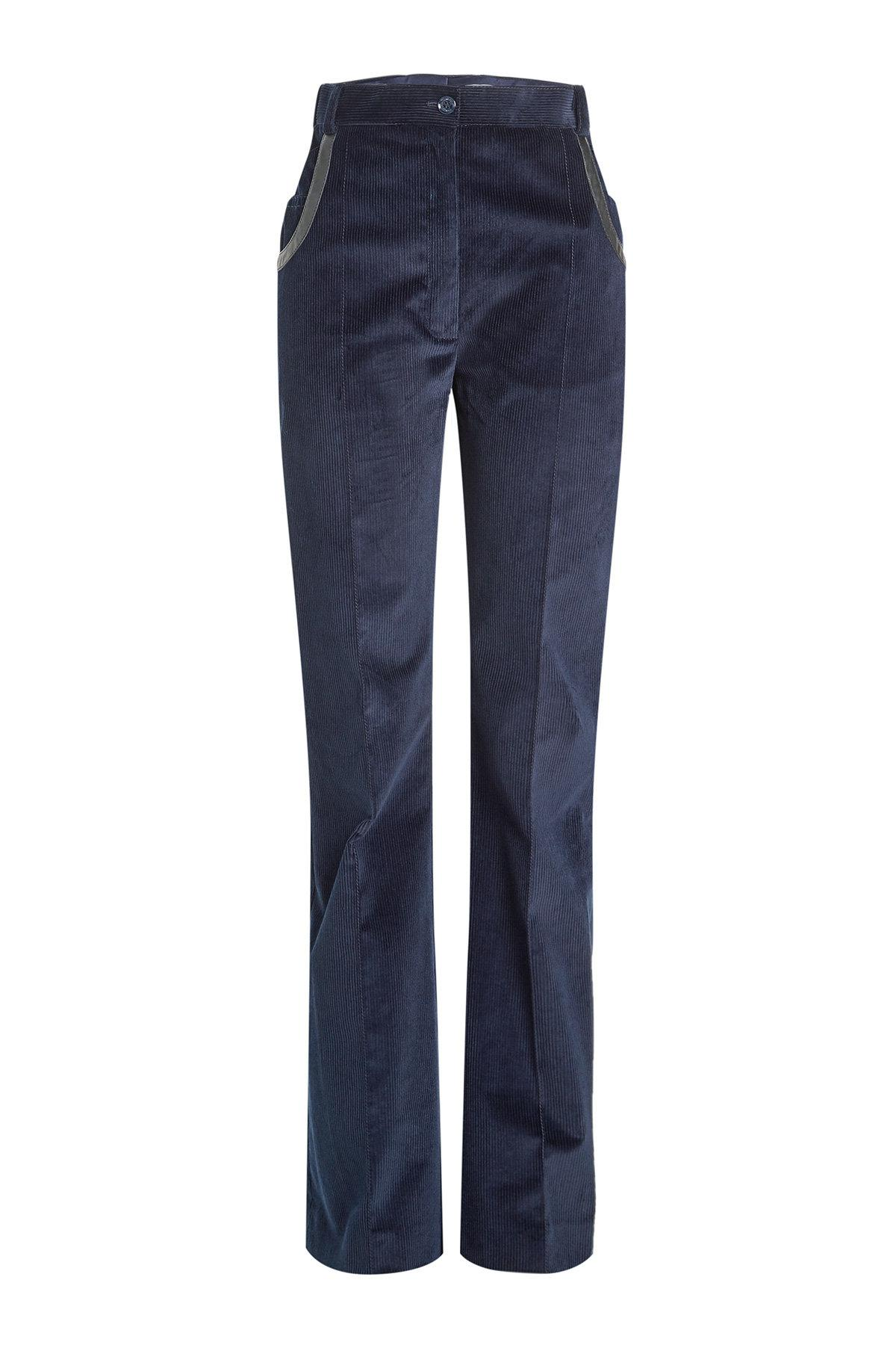 corduroy pants with leather trim