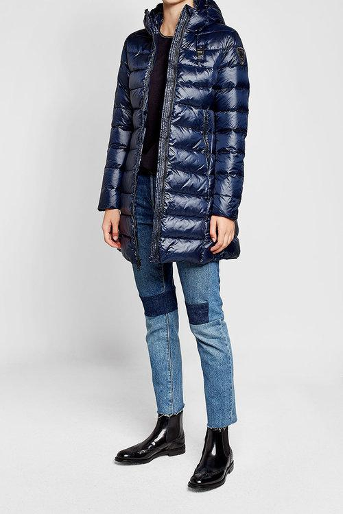 quilted down coat with hood