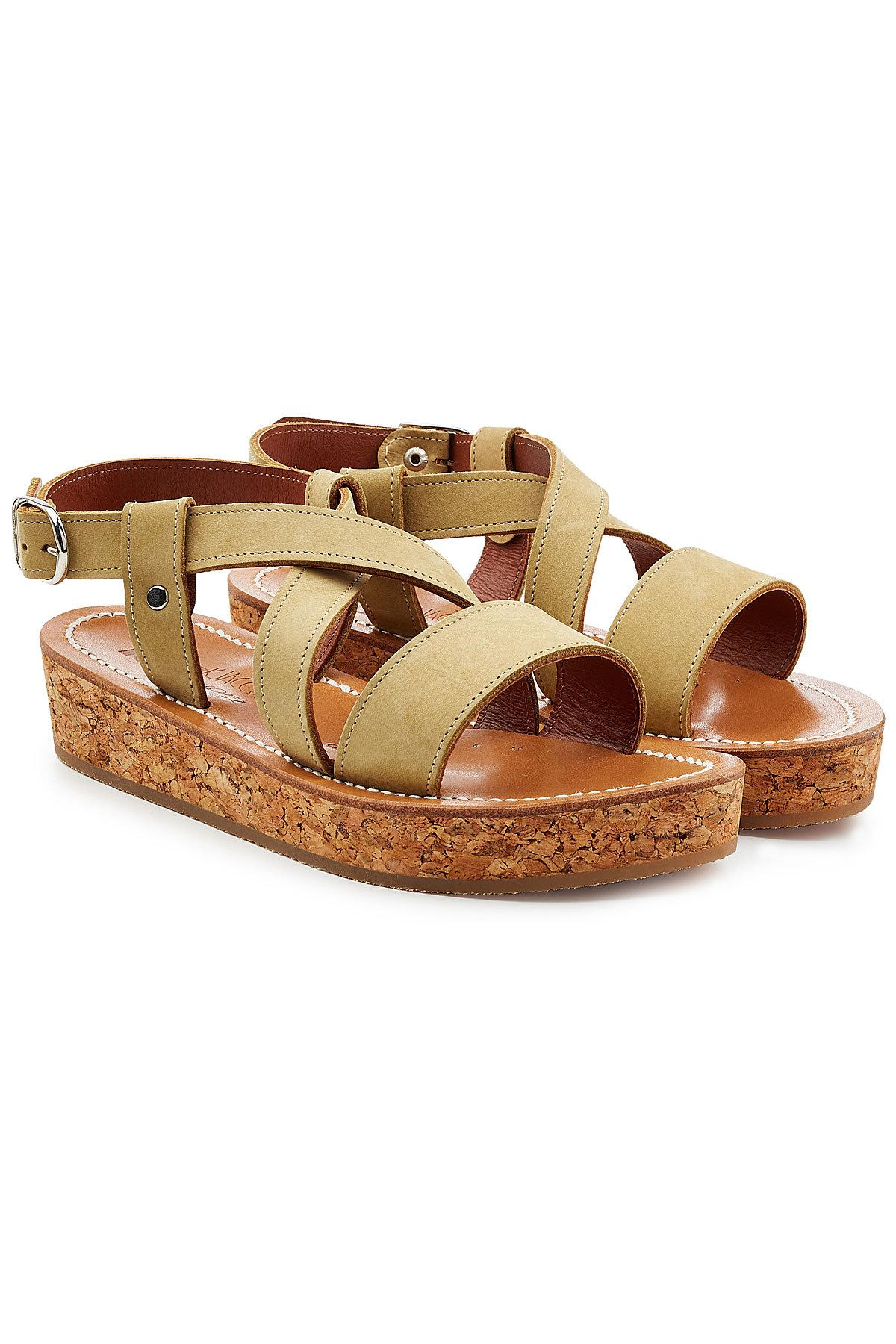 leather sandals with espadrille wedge