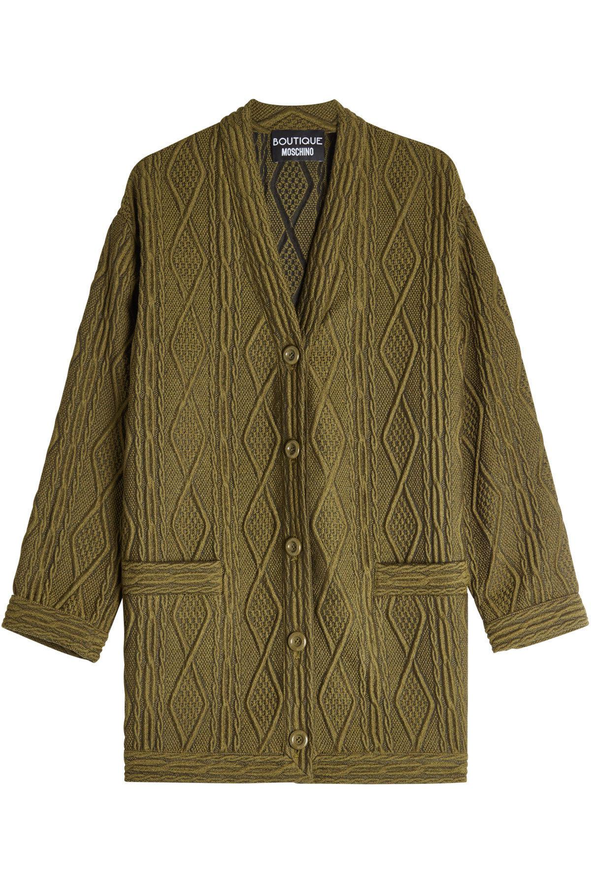 textured cardigan with wool