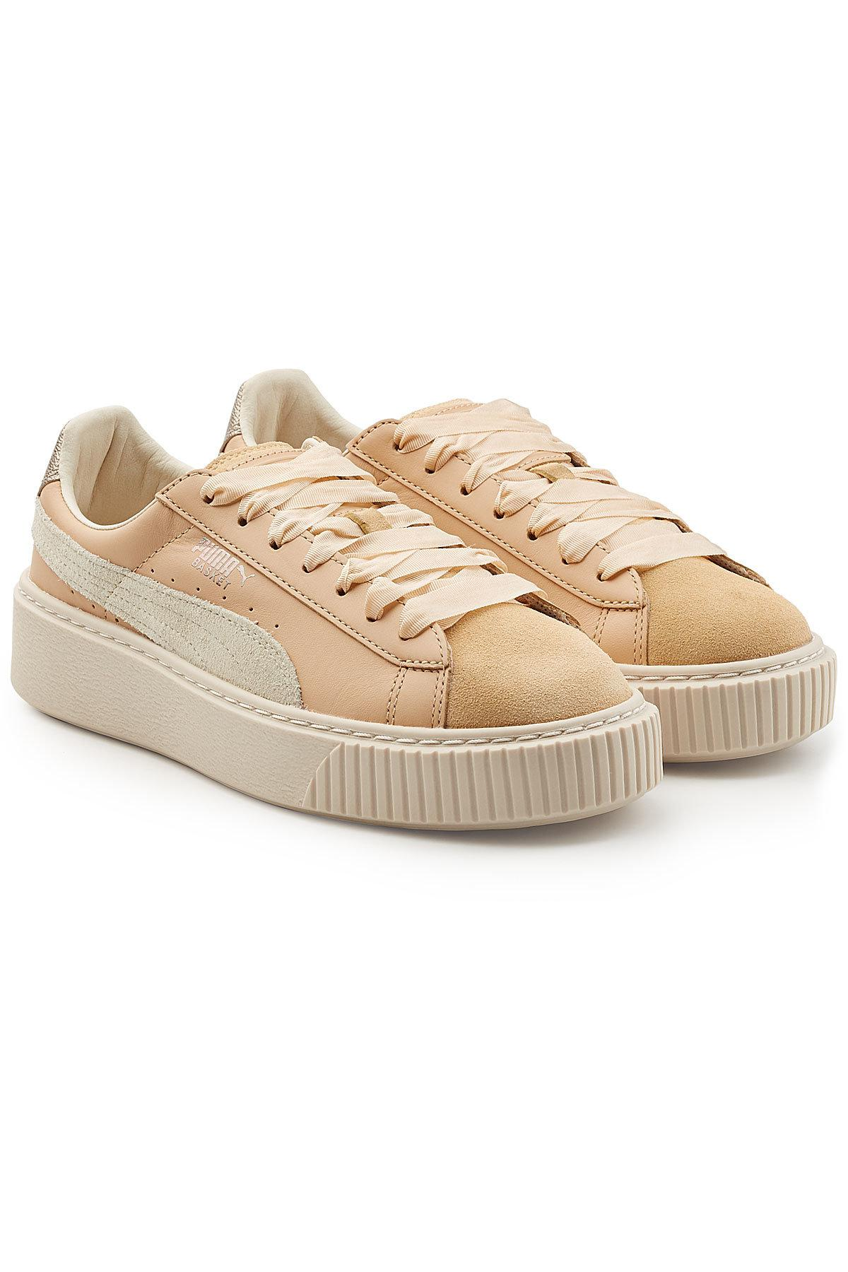 creeper sneakers with suede and leather