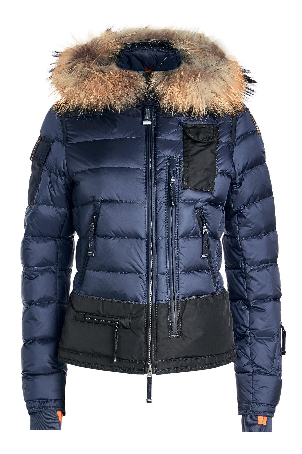 skimaster quilted down jacket with fur trimmed hood