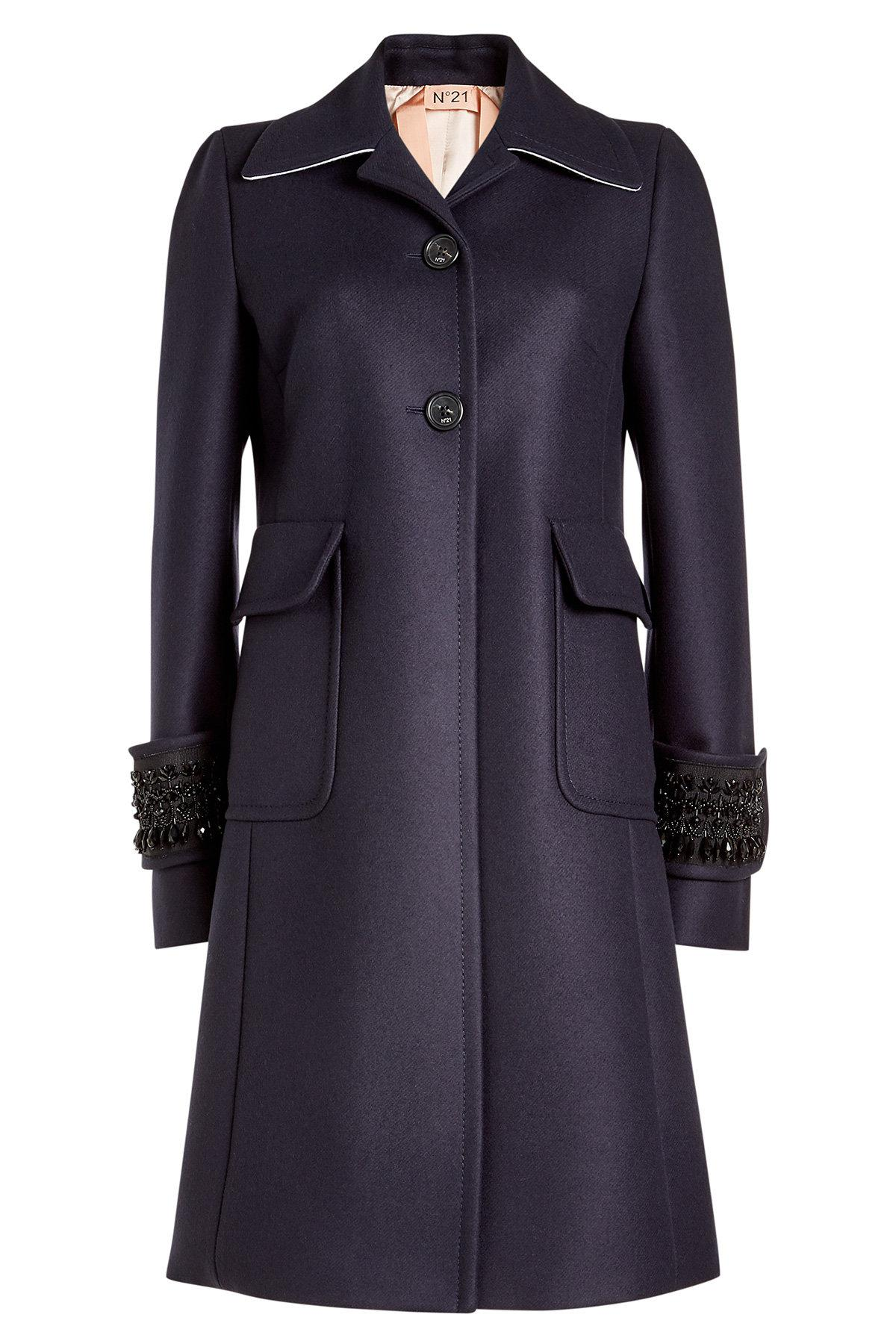 embellished wool coat with cashmere