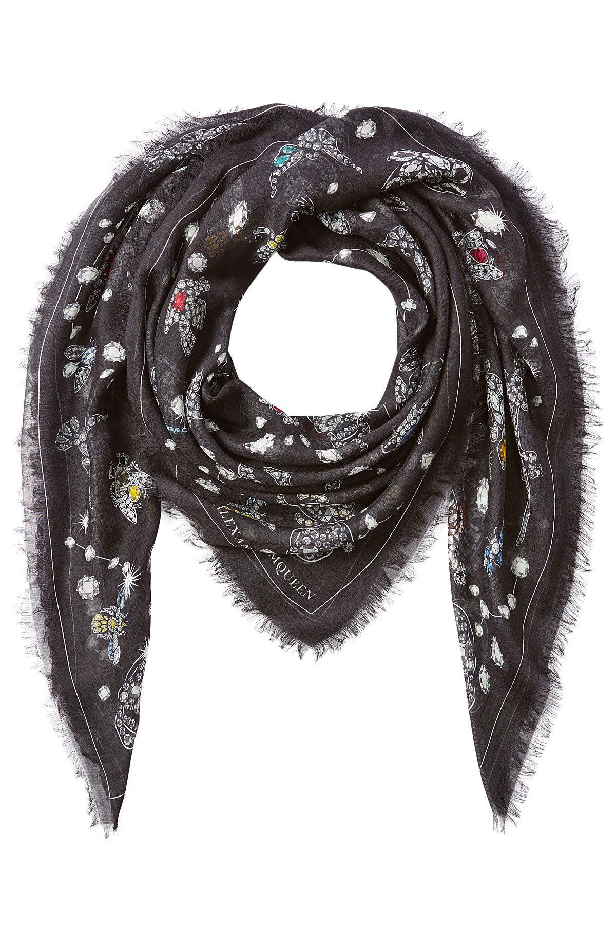 jeweled print scarf with silk